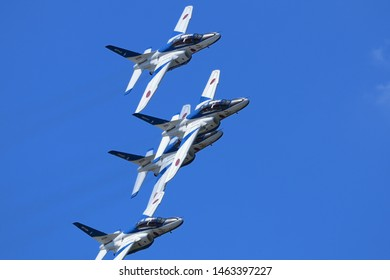 Aomori, Japan - September 07, 2014:Japan Air Self-Defense Force Kawasaki T-4 training aircraft from 'Blue Impulse' aerobatic demonstration team.