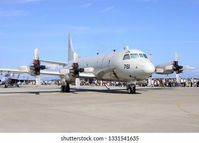 Aomori, Japan - September 07, 2014:United States Navy Lockheed Martin P-3C Orion anti-submarine and maritime surveillance aircraft.