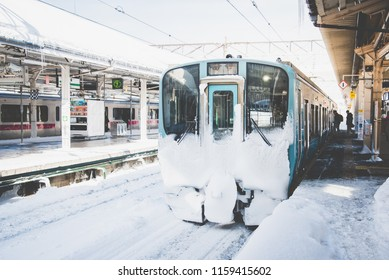 Aomori,Japan, 31 January  2018:Local train on a snowy train station in winter