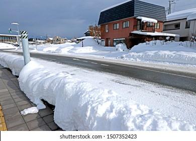 AOMORI-JAPAN-FEBRUARY 9 : View of The winter season in downtown northern Japan, February 9, 2018, Aomori Province, Japan