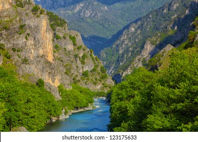 Aoos river near Konitsa during summer, Greece.