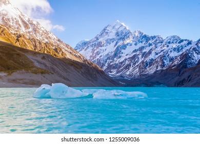 Aoraki Mount Cook and Hooker Lake with glacier ice, New Zealand
