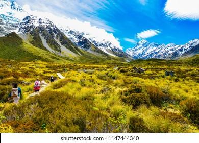 Aoraki Mount Cook,New Zealand - November 22, 2014:Travelers hiking in Mount Cook in New Zealand. Hooker Valley Track.