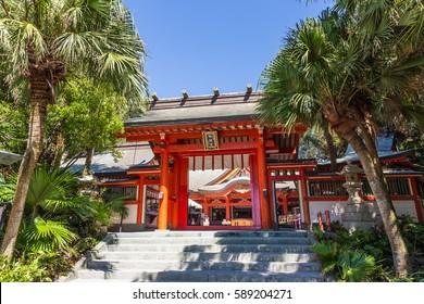 Aoshima, JAPAN - AUGUST 27: Aoshima jinja , a colorful shinto shrine located on Aoshima Island, Miyazaki prefecture, Japan on August 27, 2015.