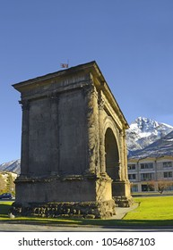 Aosta, Arch of Augustus - Symbol of the city of Aosta, the Arch of Augustus is a splendid example of Roman architecture. Valley of Aosta, north of Italy