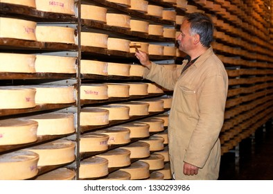 Aosta, Italy - 12 may 2016: maturing cave for fontina cheese typical of Valle d'Aosta