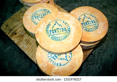 Aosta, Italy - 12 may 2016: fontina cheese typical of Valle d'Aosta