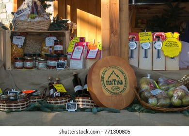 AOSTA, ITALY - DECEMBER 3, 2017: Typical food product of Aosta at the Christmas market of the city