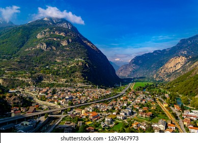 HÔNE, AOSTA, ITALY - December 6, 2017: Panorama of the entrance of the Valle di Aosta and the country of Hône.