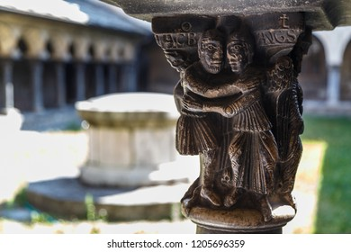 AOSTA / ITALY - JULY 2015: Cloister of a church in the historic centre of Aosta town, Italy