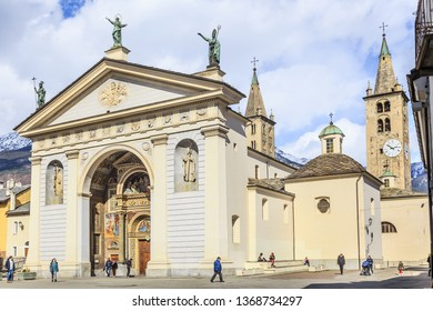 AOSTA, ITALY. MARCH 2019: Aosta Cathedral of Assumption of Mary and Saint John Baptist