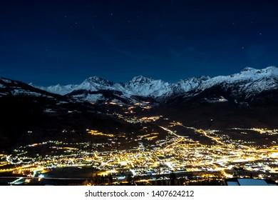 Aosta Valley by night in winter