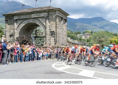 Aosta Valley, Italy - May 25th 2019: 102nd Giro d'Italia, bicycle competition, from Saint Vincent to Courmayeur Skyway Monte Bianco