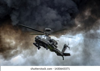 Apache helicopter in combat taken in June 2019