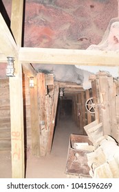 Apache Junction, Arizona 85119. U.S.A. March 3, 2018.  Goldfield ghost town replica goldmine tour. Produced $1-million in gold. Mining stopped in circa 1921. Tourist arrived circa 1988.