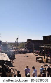 Apache Junction, Arizona 85119. U.S.A. March 3, 2018. Goldfield ghost town main street. Justice done 1880s old Arizona-style with a staged gunfight. Hourly: Noon to 4 P.M. Saturdays and Sundays.