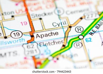 Apache Oklahoma USA On Map Stock Photo (Edit Now) 794423443