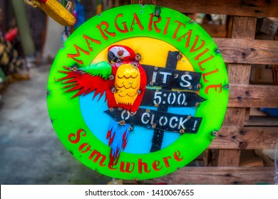 Apalachicola, Florida, USA. May, 10, 2019. Margaritaville it's 5:00 O'clock somewhere sign