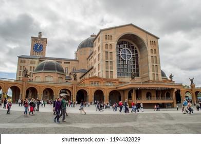 """APARECIDA, SAO PAULO, BRAZIL - JUNE 25, 2015: Basilica of the National Shrine of Our Lady Aparecida or """"Nossa Senhora Aparecida"""" in portuguese"""