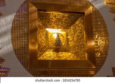Aparecida / SP / Brazil - September 12 2020 - Image of Our Lady Aparecida, patroness of Brazil, in the niche built in her sanctuary in Aparecida