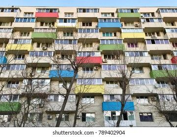 Apartament block in many colors/Recently thermal rehabilitation with insulation and re-plastering of the exterior of the Bucharest old communist buildings has changed the initial architecture.