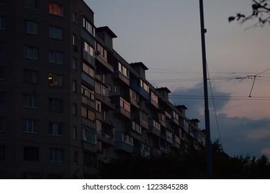 Apartament building in the twilight