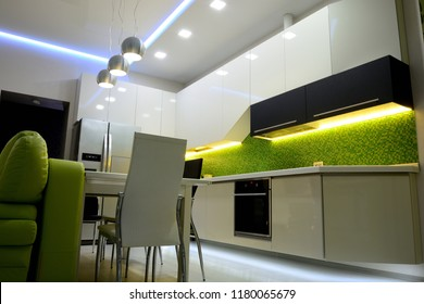 apartament interior with led lighting