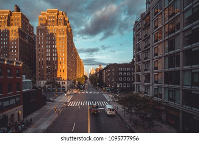 Apartaments building in New York City and street