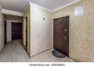 Apartment 21 front door near elevator, view from hallway, chisinau, moldova