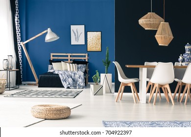 Bamboo Furniture Design Throughout Apartment With Bedroom Communal Table Wooden Furniture Deep Cyan Walls Bamboo Furniture Images Stock Photos u0026 Vectors Shutterstock