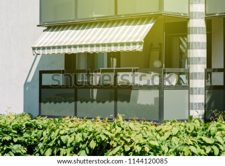 Apartment Building Balcony Awning Opened Covered Stock Photo