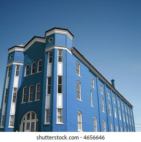 Apartment building in blue.