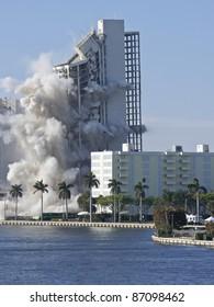 apartment building demolition using blast of dynamite