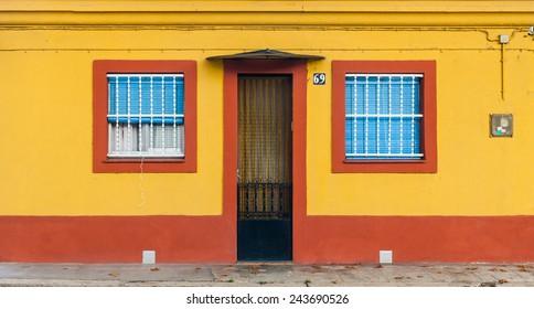 Apartment building facade in Barcelona, Spain
