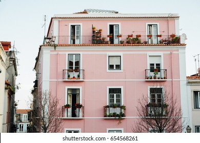 Apartment building with flowers on the balconies