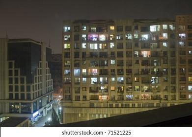 Apartment building in Mumbai (Bombay), India at night.