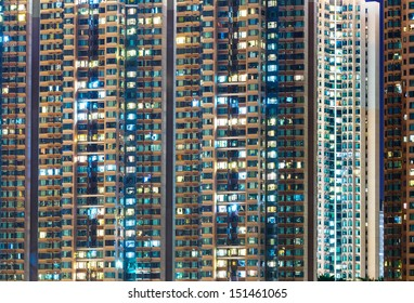 Apartment building at night