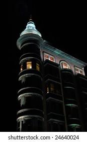 apartment building at night, San Francisco, California, USA