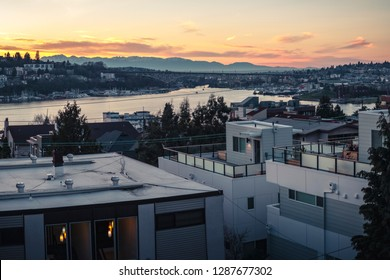 Apartment Building Rooftop View of Sunset on Lake Union Seattle