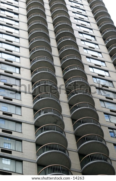 apartment building with round balconies