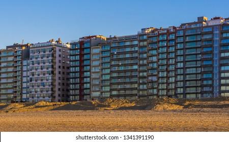 apartment buildings at the beach of blankenberge, belgium, modern Belgian Architecture