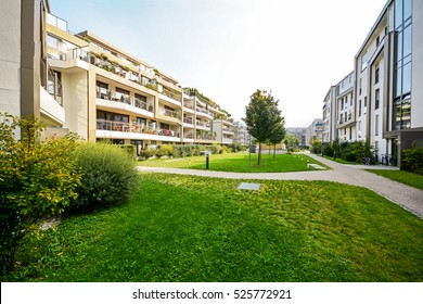 Apartment buildings in the city - Facades of new modern residential houses with low energy standard