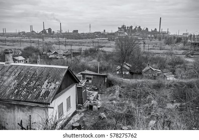 apartment buildings district and factory background, air pollution