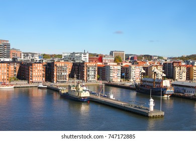 Apartment buildings and housing along the water of Gothenburg harbor, Sweden, Europe