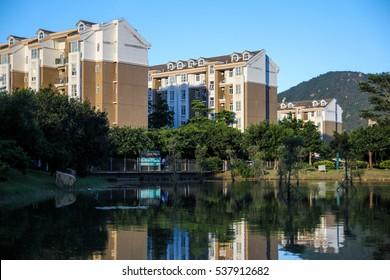 Apartment Buildings / lake view / close