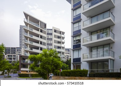 Apartment buildings at Rhodes in Sydney, Australia. Apartment blocks in the modern suburb of Rhodes in Sydney, Australia.