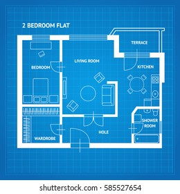 Apartment Floor Plan Blueprint With Furniture Top View. Illustration