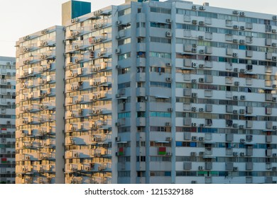 The apartment home residential building area in the crowded capital in Bangkok, Thailand