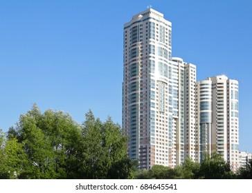 apartment house against the blue sky