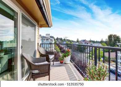 Apartment house exterior in Seattle. Balcony view. Northwest, USA